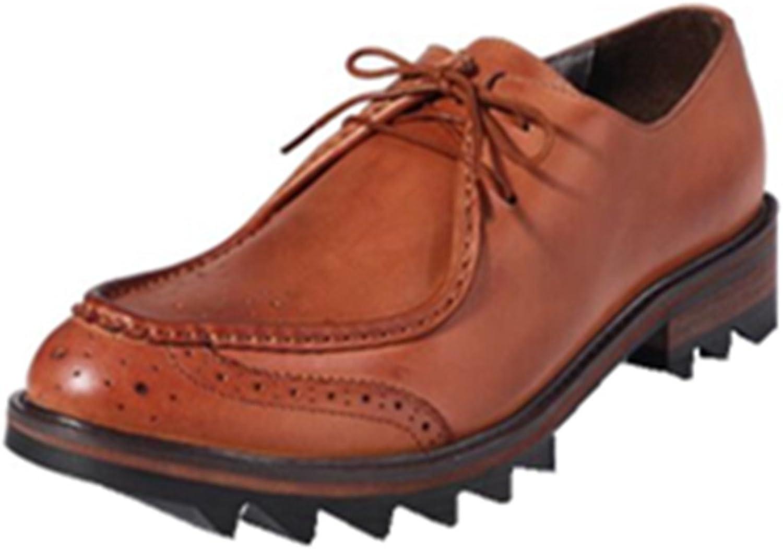 HAPPYSHOP(TM Men's Leather Lace-up Penny Loafers Business shoes Oxfords Fashion Western shoes Black