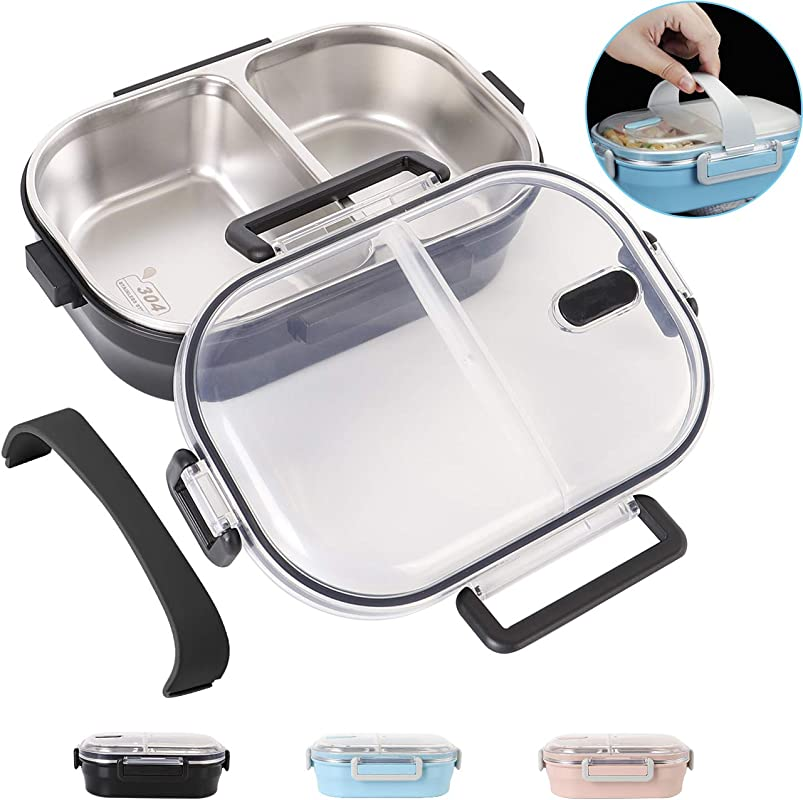 Lunch Bento Box Insulated Stainless Steel Square Food Storage Container Leakproof With Sealed Compartment For Woman Man Work Black 2 Sealed Compartment