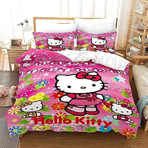 Proxiceen Hello Kitty - Juego de ropa de cama de microfibra, 3 piezas, funda nórdica y funda de...
