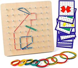 Coogam Wooden Geoboard Mathematical Manipulative Material Array Block Geo Board – Graphical Educational Toys with 24Pcs Pattern Cards and Rubber Bands Shape STEM Puzzle Matrix 8x8 Brain Teaser for Kid
