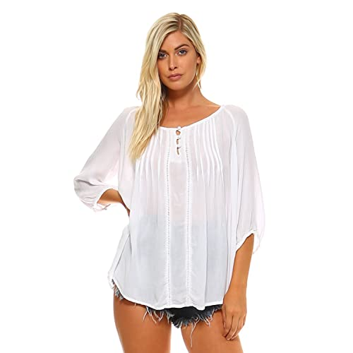 87abdf7f411d50 Carrie Allen Peasant Blouse Top for Women with ¾ Sleeves and High-Low Hem