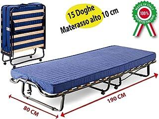 Cama Branda Brandina cama plegable de hierro óxido con ruedas y colchón para invitados Casa Camera Camping Camerata de eme...