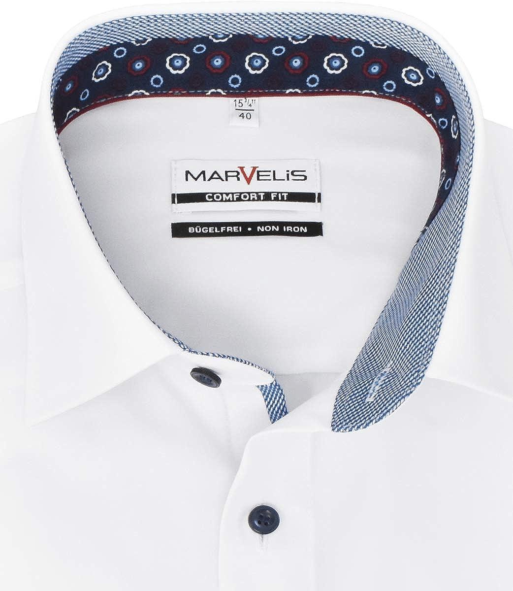 Marvelis Camisa de manga larga para hombre de ajuste cómodo, cuello New Kent, algodón puro