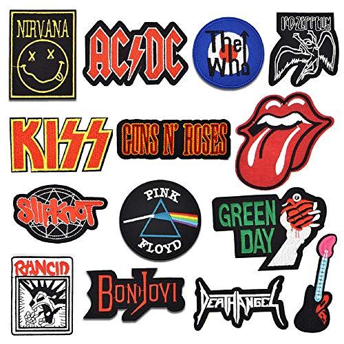 Riao-Tech 15 Stück Rock Roll Heavy Metal Hard Rock Band Patches Aufnäher Aufbügler Set für T-Shirts, Jacken, Schuhe, Rucksack