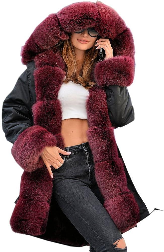 Roiii Plus Size Women Warm Fleece Vintage Winter Coat Hood Jacket Parka Outwear