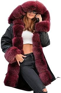 Plus Size Women Warm Fleece Vintage Winter Coat Hood Jacket Parka Outwear