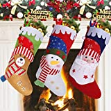 MGparty 3 PCS Christmas Stockings, 18 inch Xmas Stocking Party Mantel Decorations Ornaments - Santa Snowman Bear 4 Different Size Snow Christmas Tree Decoration