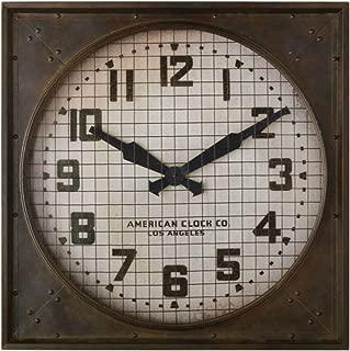 Thaweesuk Shop Brown 1940S Gymnasium Clock Restoration Hardware Metal Frame Weathered New RH 26