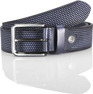 LINDENMANN men's leather belt/men's belt, full grain leather, navy