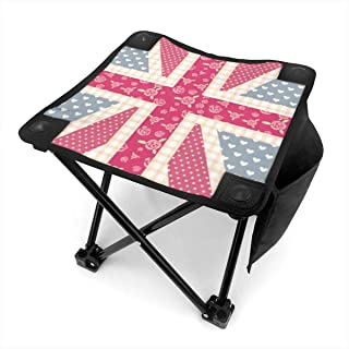 WETG Pink UK Folding Camping Stool Lightweight Chairs Portable Seat for Adults Fishing Hiking Gardening and Beach with Carry Bag