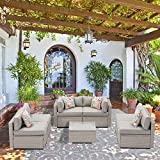 SUNBURY 7-Piece Outdoor Sectional Wicker Sofa in Pearl Gray w 6 Pillows in Psychedelic Colors Elegant Patio Furniture Chair and Table Set for Backyard Garden Porch