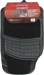 Carfit 4578011 Majestic Front Carpet and Rubber Car Floor Mat 2 Piece Set, Black, Set of 2