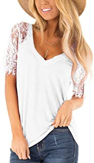 Women's Summer Sexy Lace Short Sleeve V Neck T Shirts Casual Blouses Tunics Chic Tee Tops