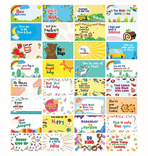Motivational Positive Lunch Box Notes for Children - Daily Inspirational Affirmations for Kids - Inspirational Cards - Encouragement Cards for Kids - Happy Notes for School Children - Pack of 32 Cards