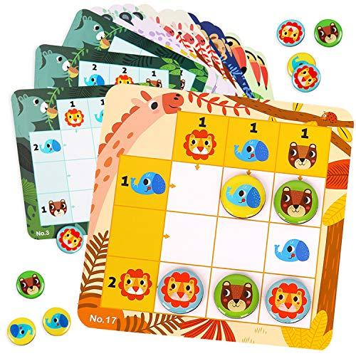 Nene Toys - Sudoku Infantil con 30 Coloridos Patrones - Puzzle Magnético de Viaje para Niños a Partir de 3 años con Colores y Animales - Rompecabezas Infantil Que Desarrolla Capacidades Cognit