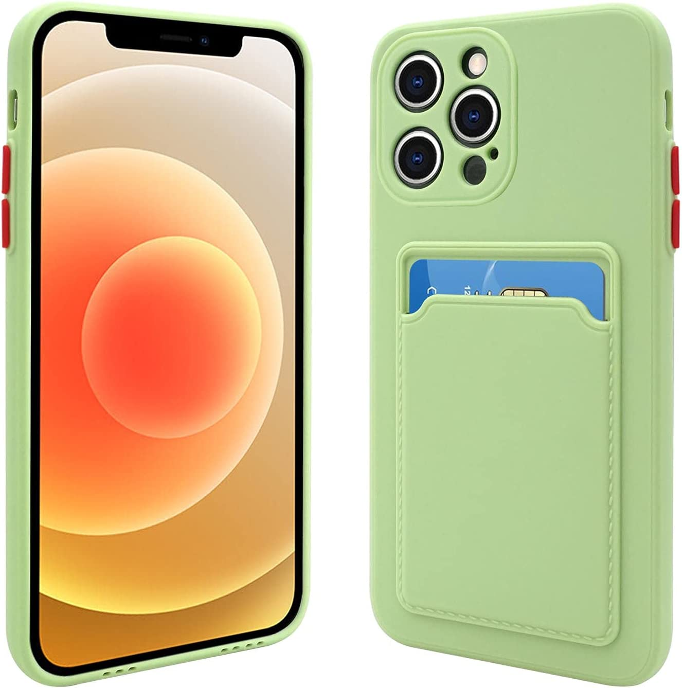 Naiadiy Silicone Card Case Compatible with iPhone 12 Pro Max, Slim Shockproof Protective Case with Credit Card Holder Sleeve (Green)