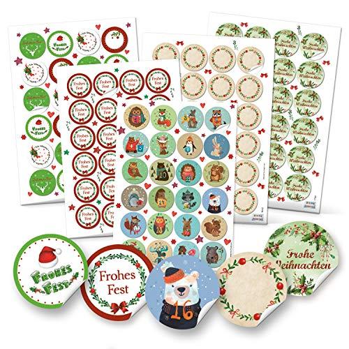 Logboek-uitgeverij set 5 x 24 stickers kerstmis adventskalender cijfers knutselen
