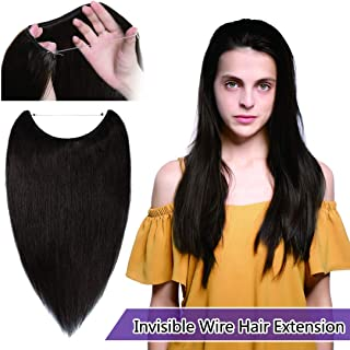 SEGO Invisible Secret Wire Hair Extensions Human Hair Translucent Fish Line Hidden Crown Hair Extensions with Miracle Headband Hidden String Hairpieces #02 Dark Brown 16 inches 60g