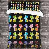 Juego de cama de 3 piezas – Paper Craft Yoshis Yoshi & 39s Handmade World Stickers Juego de edredón clásico de lujo, algodón ligero, reversible, juego de cama de 86 x 70 pulgadas