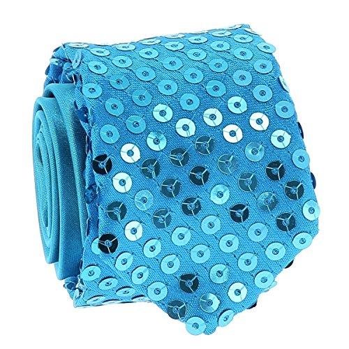 Cravate Paillette Bleu turquoise - Cravate Strass Soirée - Cravate brillante