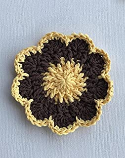 Crocheted Cotton Flower Coasters in Yellow and Brown, Set of 4