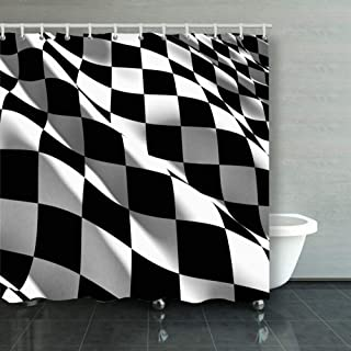 ong8 3 d Checkered Flag Sports Race Motorized Sports Recreation Checker Sports Recreation Shower Curtain Polyester Fabric Bathroom Decor Sets with Hooks 60 x 72 Inches