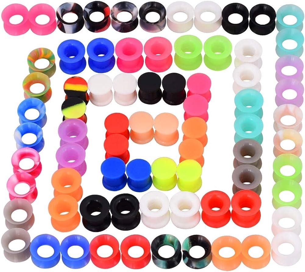 Longbeauty 36Pcs 76Pcs Colorful Spring new work Soft Flexibl Gauges Ear Silicone Translated