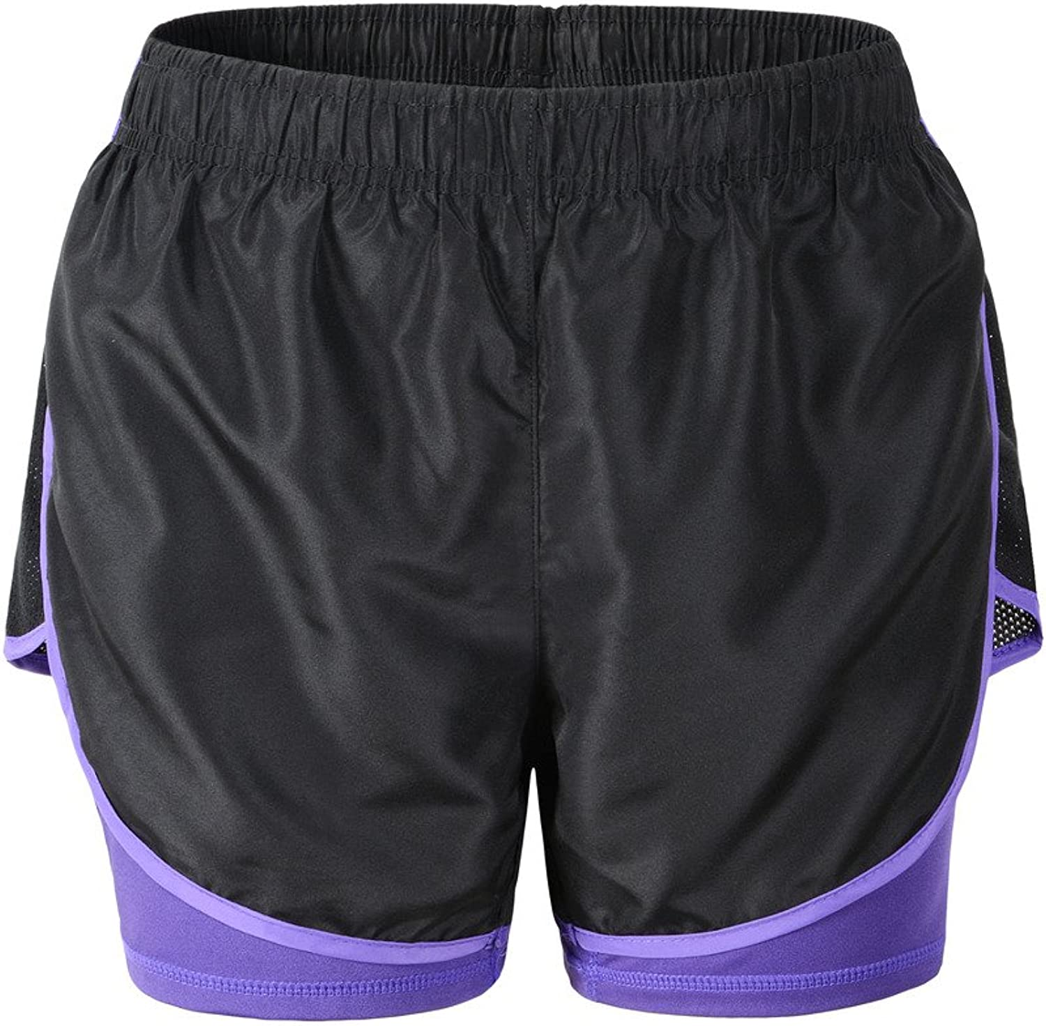 Deargles Womens Running Yoga Sport Shorts Training Shorts with Lining,2 in 1 Running Shorts