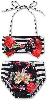 Hemlock Girl 's Bikini Set, Little Girl Swimsuit Swimwear Vest Bathing Suit (4T, White)