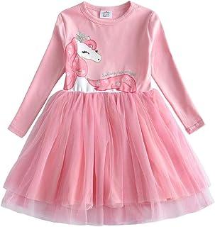VIKITA Vestido Invierno Manga Larga Tul Algodón Bordado Unicornio para Niñas 2-8 Años