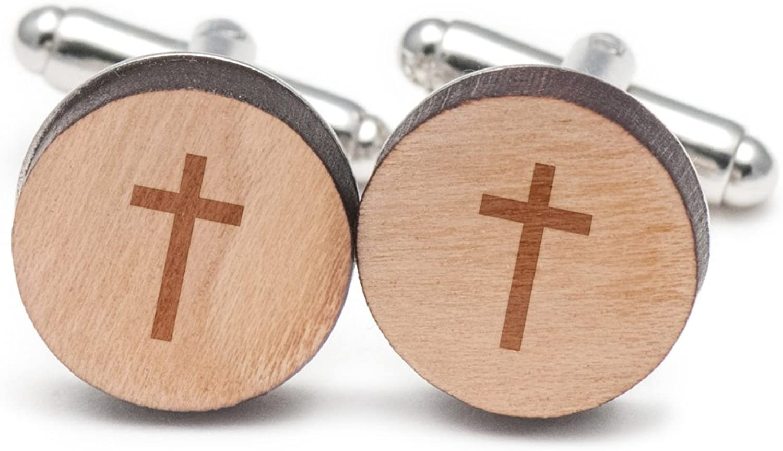 Christian Cross Cufflinks, Wood Cufflinks Hand Hand Hand Made in the USA c89769