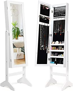 Giantex Jewelry Cabinet Armoire with 13 Led Lights, Large Storage for Home Bedroom Full Length Mirrored 60 Ring 16 Hooks Makeup Organizer Box, Standing Jewelry Armoires Cabinets w/Mirror, White