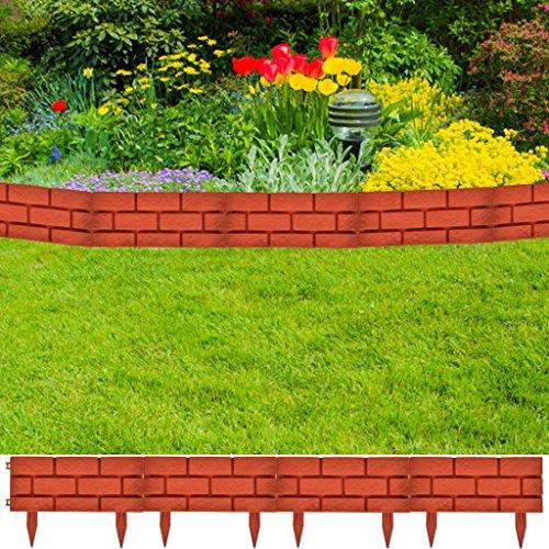 Festnight Garden Edging Decorative Lawn Divider Flower Bed Border Edge with Brick Design 11 PCS