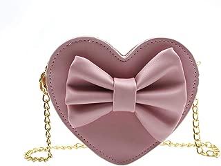 Cute Heart-shaped Crossbody Purse Bowknot Shoulder Bag Satchel for Little Girls Toddlers