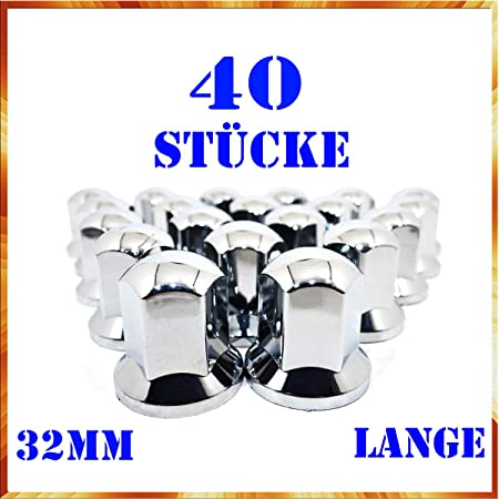 Easy Link 40x Lange 32mm Radkappen Chrom Radmutterkappen Radmutterschutz Kunststoff Sw Lkw Anhänger Auto