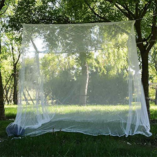 Moskitonetz für Doppel-Campingbett, Wisolt Square kompaktes und leichtes Outdoor-Insektennetz mit 8 Schlaufen und 1 Aufbewahrungstasche für Camping, Wandern, Angeln, Jungle Expeditions - Weiß