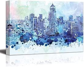 YEHO Art Gallery Canvas Prints Wall Art Oil Paintings for Livingroom Bedroom Vibrant Blue Splattered Paint on The City of Bangkok in Thailand 20