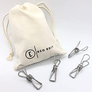 ECO EDIT The Original 316 Marine Grade Metal Laundry Pegs 40 Pack with Storage Bag | Stainless Steel Pegs | Sustainable, S...