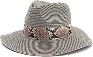 Summer Hat Women Panama Straw Hat Fedora Beach Vacation Wide Brim Visor Casual Summer Sun Hats for Women Sombrero` TuanTuan (Color : Gray, Size : 56-58CM)