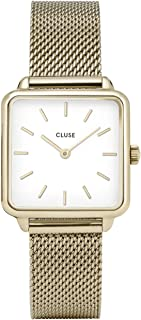 CLUSE LA TÉTRAGONE Gold Mesh White CL60002 Women's Watch 29mm Square Dial Stainless Steel Strap Minimalistic Design Casual Dress Japanese Quartz Precision