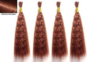 Hot selling Wet N Wavy Bulk hair, Top Quality Synthetic Fibers, Bulk Hair for Micro Braiding or Crochet Braiding, Super Bulk Style 2 Packs (4 Bundles) Deal, Length 18 Inch Color Dark Red Copper #350