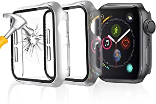 Seltureone 2 sztuki etui kompatybilne z Apple Watch SE, Series 6/5/4 40 mm etui ze szkłem pancernym, ochrona wyświetlacza,...