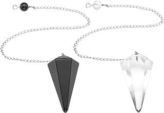 CrystalTears - Orologio da polso radioestesia divinatorio, in quarzo, cristallo di energia e pietra 6 facce, 2 pezzi (ossi...