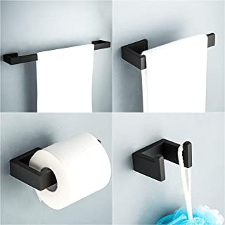 Frap 4 Pieces Bathroom Hardware Accessories Sets Black Stainless Steel Wall Mounted Towel Bar Robe Holder Hook Toilet Paper Holder