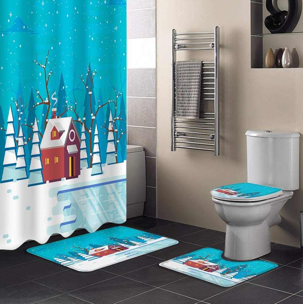 4 Piece Ranking TOP4 Shower Award Curtain Sets Blue House and Red Include Christmas