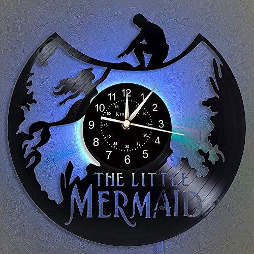 BFMBCHDJ Mermaid Vinyl Record Reloj de Pared LED Decoración para el hogar Regalos para Amigos y Familiares Lámpara Colgante Nocturna 7 Color Luminoso Reloj de Pared con LED 12 Pulgadas