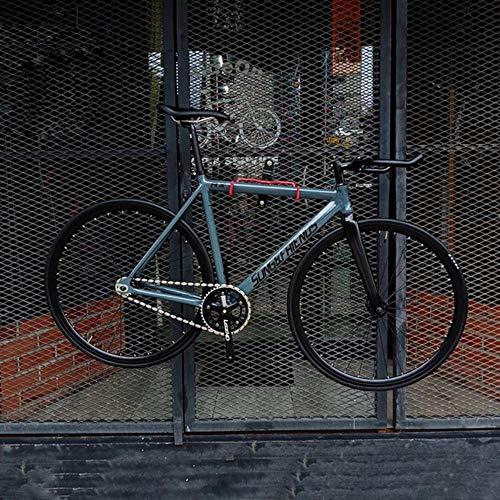 Pakopjxnx Vélo Piste 54cm Cadre Vélo Simple Vitesse avec Fourche en Fibre De Carbone Et Roue 70mm Jante, Noir, 53cm (175cm-180cm)