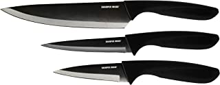 Sharper Image Premium 3-Piece Titanium Coated Stainless Steal Knife Set - Includes 3.5