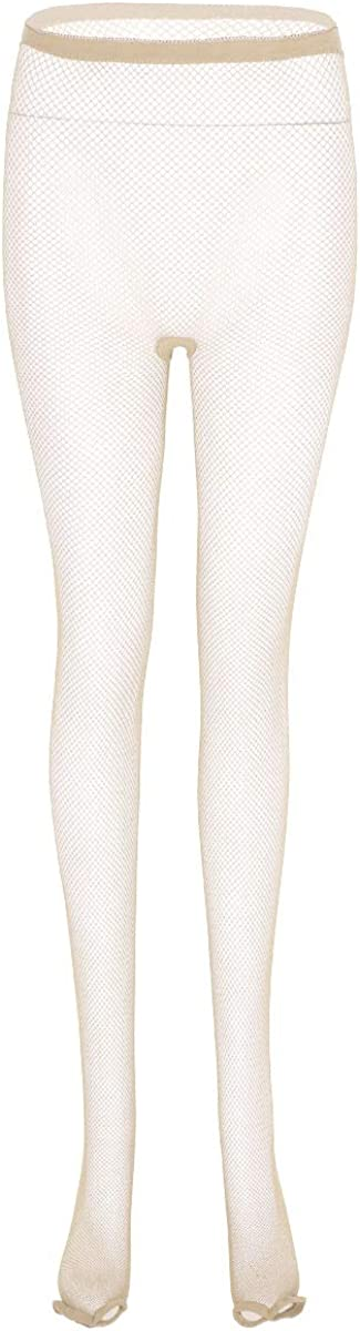 inlzdz Women's See Through Sheer Open Toe High Waisted Tights Stockings Latin Dance Pantyhose