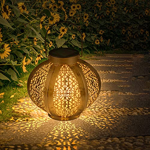 CRZJ Linterna Solar, Linterna Solar para jardín al Aire Libre, Linterna Solar Hexagonal, Impermeable, para Decoraciones de Festivales de Patio de césped de jardín,5 Pack